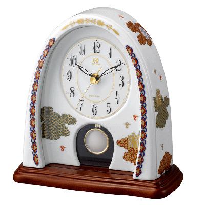 [代引き不可]■リズム時計 JAPAN MADE【有田焼 磁器枠時計 雲散らし774】香蘭社 クオーツ置時計 飾り振子付 4RP774HG11【楽ギフ_包装選択】.