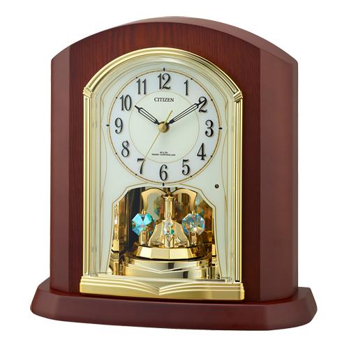 ■CITIZEN シチズン【電波置時計】木枠 スワロフスキー回転飾り 4RY702-N06 [代引不可]【楽ギフ_包装選択】.