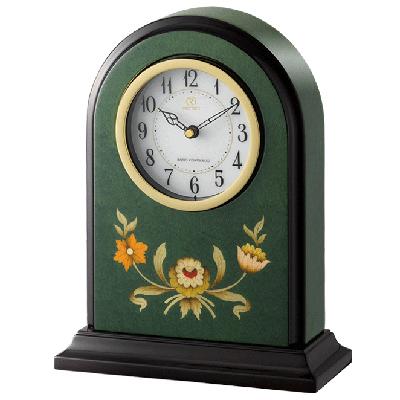 [代引き不可]■リズム時計【RHG-R08 緑象嵌仕上げ】電波置時計 4RY711HG05【楽ギフ_包装選択】.