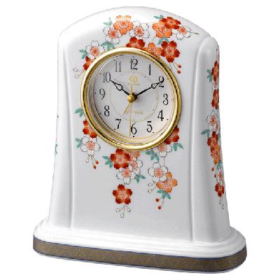 ■リズム時計 JAPAN MADE【有田焼 磁器枠時計 桜絵[さくらえ]4 1 5】香蘭社 クオーツ置時計 アラーム付き 4SE415HG01 [代引不可]【楽ギフ_包装選択】.