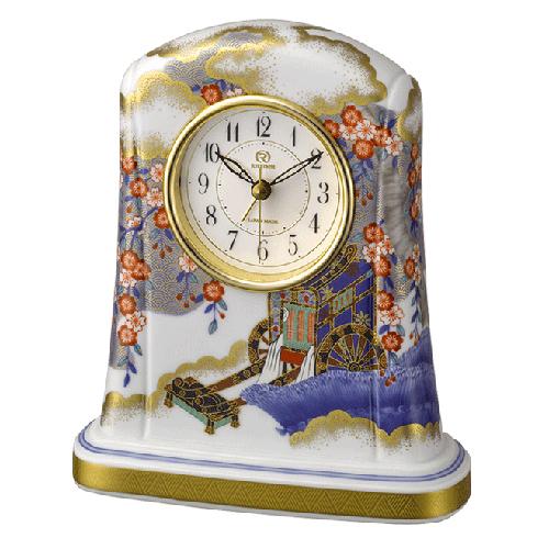 ?リズム時計 JAPAN MADE 有田焼 磁器枠時計【御所車の図[ごしょぐるまのず] 554】香蘭社 クオーツ置時計 アラーム付き 4SE554HG04 [代引不可]【選択】.