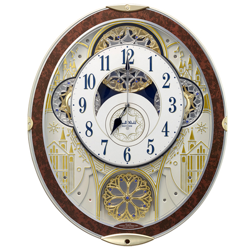 ■リズム時計【スモールワールドノエルNS】電波掛時計 からくり時計 メロディ48曲 木目仕上 8MN407RH23 [代引不可]【楽ギフ_包装選択】