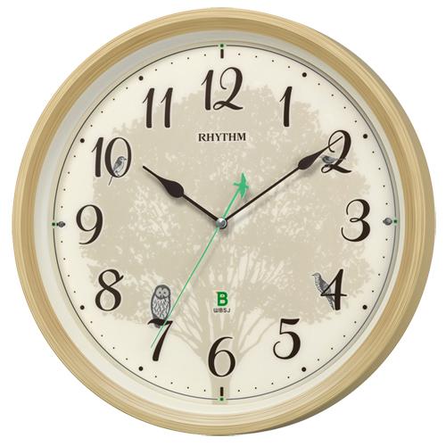 ■リズム時計 電波掛時計【日本野鳥の会 四季の野鳥 報時掛時計409】鳴き声 アイボリー 8MN409SR06 [代引不可]【楽ギフ_包装選択】.