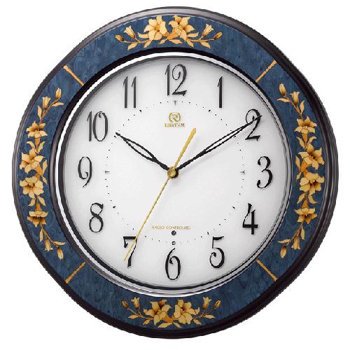 ■リズム時計 日本製象嵌細工 電波掛時計【RHG-M107 青象嵌仕上げ】木枠 8MY471HG04 [代引不可]【楽ギフ_包装選択】.