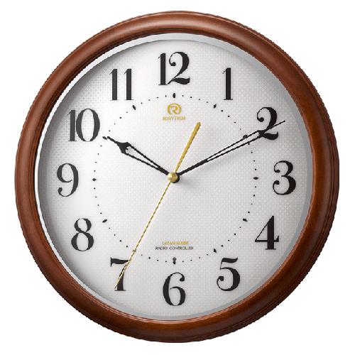 ■リズム時計 電波掛時計【RHG-M008】木枠 8MY524HG06 [代引不可]【楽ギフ_包装選択】
