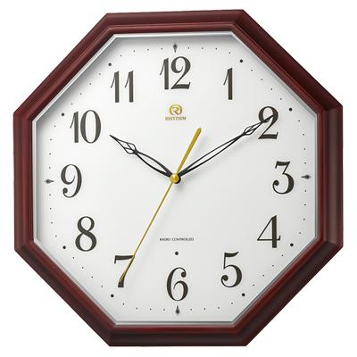 リズム時計■電波掛時計【RHG-M010】八角形 木枠 8MY530HG06 [代引不可]【楽ギフ_包装選択】.