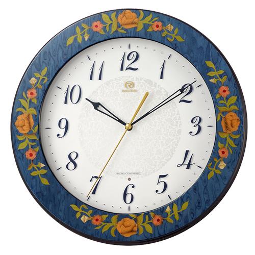 ■リズム時計 イタリア製象嵌細工 電波掛時計【RHG-M115 青象嵌仕上げ】木枠 8MY545HG04 [代引不可]【楽ギフ_包装選択】.