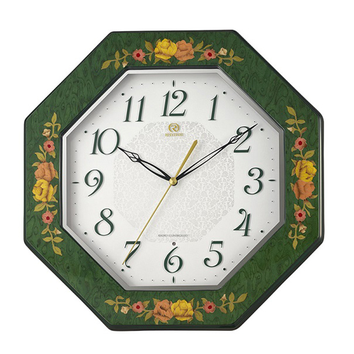■リズム時計 イタリア製象嵌細工 電波掛時計【RHG-M116 緑象嵌仕上げ】八角形 木枠 8MY546HG05 [代引不可]【楽ギフ_包装選択】.