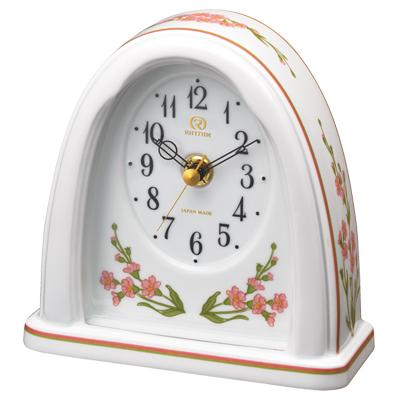 ■リズム時計 JAPAN MADE 有田焼 磁器枠時計【RHG-S76 わすれな草】花言葉 クオーツ置時計 8RG623HG13 [代引不可]【楽ギフ_包装選択】.