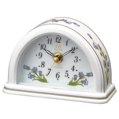 ■リズム時計 JAPAN MADE 有田焼 磁器枠時計【RHG-S77 つりがね草】花言葉 クオーツ置時計 8RG624HG12 [代引不可]【楽ギフ_包装選択】.