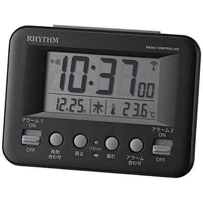 即納!特価!ラッピングサービス  リズム時計■デジタル電波目覚まし時計【フィットウェーブ D191】温度表示 黒 8RZ191SR02 [代引不可][後払い不可]【楽ギフ_包装選択】.