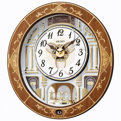 [代引き不可]■SEIKO セイコ-【電波掛け時計 からくり時計】回転飾り 木枠 メロディ付き RE580B【楽ギフ_包装選択】