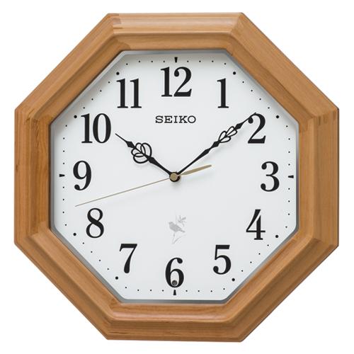 ◆SEIKO[セイコー] 電波掛時計【ナチュラルスタイル 鳥の鳴き声】木枠 天然色木地 八角形 RX216B [代引不可]【楽ギフ_包装選択】.