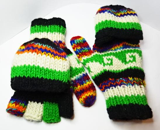 冬の必需品 卸売り ミトン兼用指だしニット手袋 緑 白 赤 激安 激安特価 送料無料 黒