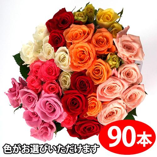 色が選べるバラの花束ギフト90本 送料無料