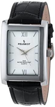 中古 35%OFF 輸入品 未使用 Peugeot Men's 2033SL Silver-Tone and 買収 Watch Black Strap Leather Silver Dial