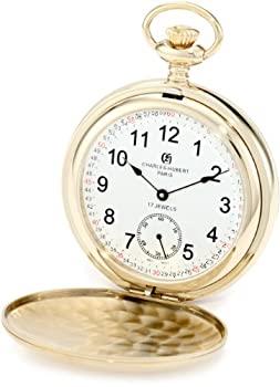 オーバーのアイテム取扱☆ 中古 輸入品 未使用 Charles-Hubert Paris 3908-GRR Brushed Finish Gold-Plated Double Cover Pocket Watch Stainless Mechanical Steel 安心と信頼
