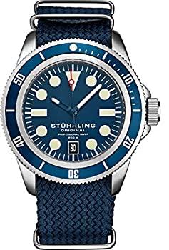 超歓迎された 中古 輸入品 未使用 Stuhrling オリジナル腕時計 メンズ 与え 日本製ク ナイロンアナログ腕時計 200m防水 ダイブウォッチ スクリューダウンクラウン付き スポーツウォッチ