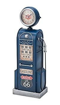 中古 輸入品日本向け イシグロ 置き時計 掛け時計 ブルー ガスポンプクロック レトロ 31258 安い 激安 プチプラ メーカー直送 高品質 ウォールクロック 19.5×56×13.5