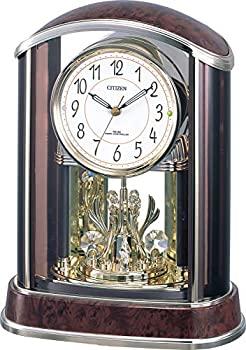 中古 輸入品日本向け リズム メイルオーダー シチズン 置き時計 電波 アナログ パルアモールR658N CITIZEN テレビで話題 飾り 29.5x22.8x13.4cm 4RY658-N23 木目仕上げ クリスタル 茶