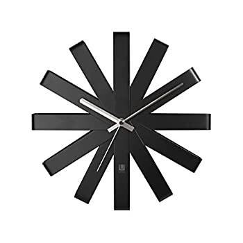 中古 輸入品日本向け umbra 掛け時計 おしゃれ ウォールクロック WEB限定 アナログ RIBBON <セール&特集> ブラック 直径30cm インテリア 2118070040
