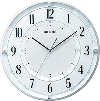 【中古】【輸入品日本向け】リズム(RHYTHM) 掛け時計 白 パール Φ29.6x5.1cm 電波時計 静か 連続秒針 省エネ インテリア 石膏ボード対応 8MY551SR03