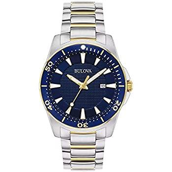 中古 輸入品 未使用 Bulova 98B329 メンズ ステンレススチール クラシック 与え ツートーン 海外並行輸入正規品 腕時計 ブルーダイヤル