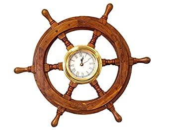 中古 新生活 直送商品 輸入品 未使用 で手作り模型船SW-1720デラックスクラス木と真鍮船ホイール時計18 船ホイール装飾アクセント