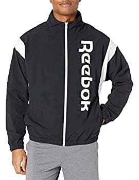 中古 輸入品 未使用 Reebok 限定モデル メンズ トレーニングエッセンシャル フルジップジャケット ブラック 訳あり商品 M リニアロゴ