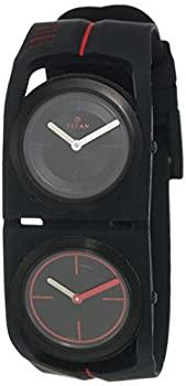 中古 輸入品 未使用 Titan 売店 メンズ 腕時計 エッジ レッド クォーツ スポーツ ブラック デュアルタイム 割引