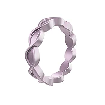 中古 輸入品 未使用 QALO 通販 激安 レディース 虹色 パープル シリコン 08 サイズ エタニティ 商品 - 結婚指輪