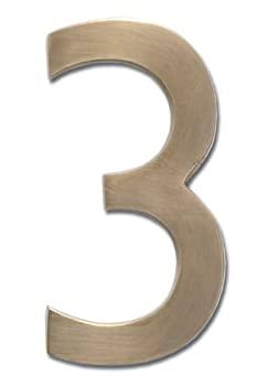 中古 輸入品 未使用 Architectural Mailboxes 3585AB-3 Solid Cast お中元 House Brass Antique 3 Number お値打ち価格で 5 in. Floating