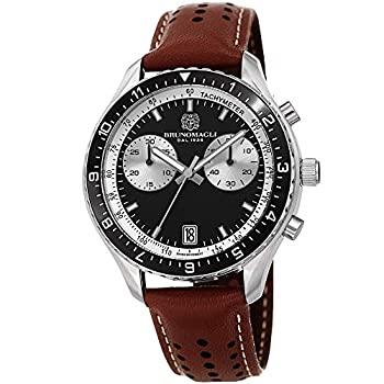 中古 輸入品 内祝い 未使用 Bruno Magli メンズ Marco 1081 スイス製クォーツ 腕時計 ブラックダイヤル ランキング総合1位 イタリアンレザーベルト