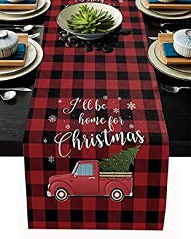 中古 輸入品 未使用 コットンリネン テーブルランナー I'll Be for クリスマスホリデー テーブルクロス 格安 価格でご提供いたします Tree ブラックレッド格子ドレッサースカーフ 無料 Home Christmas