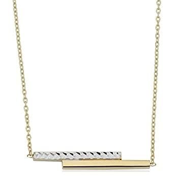 中古 輸入品 未使用 Kooljewelry [宅送] 10K 長さ調節可能 ダブルバー 最大18インチ 日本全国 送料無料 ツートーンゴールド ケーブルチェーンネックレス