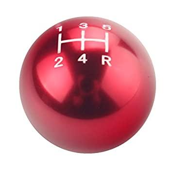 中古 輸入品 未使用 DEWHEL ラウンドボール 手動ギアスティック シフトノブ レッド M10x1.25 ショートスローシフターセレクター 5速 M 売店 アルミスクリューオン 70%OFFアウトレット