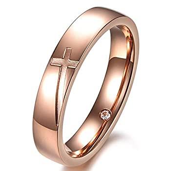 中古 輸入品 未使用 ファッション 月 人気の製品 レディース 4mm ヴィンテージ ステンレススチール 結婚指輪 お中元 ローズゴールド 彫刻 クリスチャン インレー 婚約 リング クロス CZ