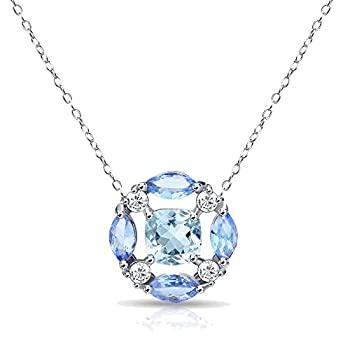 中古 輸入品 未使用 格安 価格でご提供いたします スターリングシルバー ホワイトトパーズのアクセント付き 本物の宝石とタンザナイトネックレス 安い
