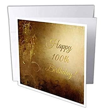 中古 輸入品 未使用 在庫一掃 バースデーデザイン???100th誕生日 Greeting Individual おすすめ Card エレガントにゴールドVineゴールド背景???グリーティングカード