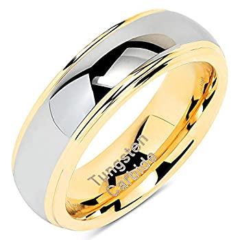 【中古】【輸入品・未使用】100S JEWELRY 6mm タングステンリング メンズ レディース 結婚指輪 ツートーン ゴールド シルバー 婚約 サイズ 5-13