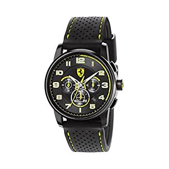 中古 輸入品 未使用 フェラーリ Ferrari 今季も再入荷 クロノグラフ Heritage 限定価格セール Chronograph Black Dial Yellow Men 並行輸入品 BlackSilicone WOWSARA Watch 830061 and