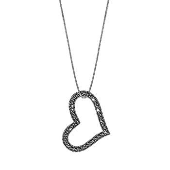 中古 輸入品 未使用 全国どこでも送料無料 年中無休 Boma Jewelry 18インチ スターリングシルバー非対称オープンハートマーカサイトネックレス