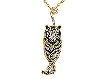 中古 輸入品 未使用 Alilang Golden Tone Black Crystal Tiger Cool 推奨 Rhinestone Pendant Necklace 高品質 Enamel