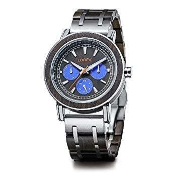 セール品 お求めやすく価格改定 中古 輸入品 未使用未開封 Quartz Watch lEeeV木製メンズウォッチTopブランド高級スタイリッシュな時計木製ステンレススチールクロノグラフMilitary