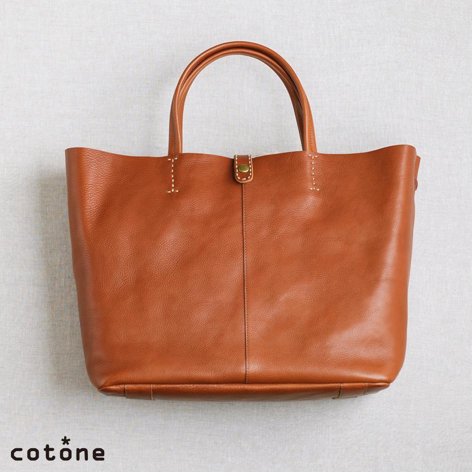 【cotone】 コットーネ family ファミリー ショルダートートバッグ レディース A4サイズ ブラウン/ナチュラル
