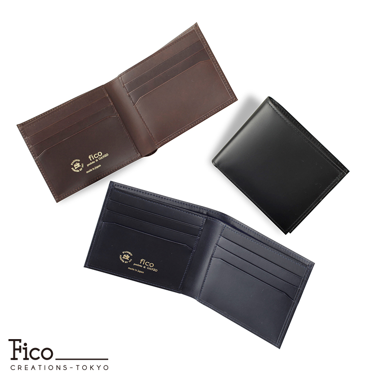 メンズ 財布 2つ折り財布 折財布 純札入れ 日本製 スムース fico フィーコTEXAS テキサス