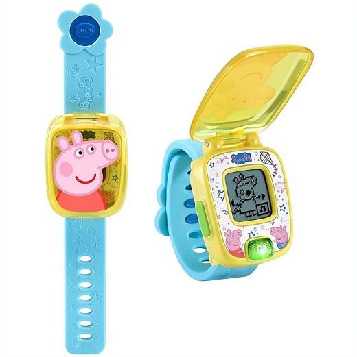 VTech ペッパピッグ ラーニングウォッチ ブルー イエロー Peppa Pig Learning 時計 Blue アラーム 業界No.1 Watch 4種のゲーム タイマー 激安通販ショッピング ストップウォッチ