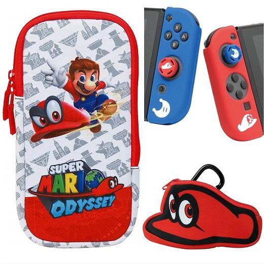 Nintendo Switch Case Hori Accessories Set Super Mario Odyssey Hori Soft Case Porch ジョイコンカバー Mario Analog Cap Card Case Starter Set