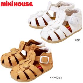 ミキハウス(ベビー)mikihouseつま先ガード☆やわらかベビーサンダル日本製(12cm、12.5cm、13cm、13.5cm、14cm、14.5cm、15cm)