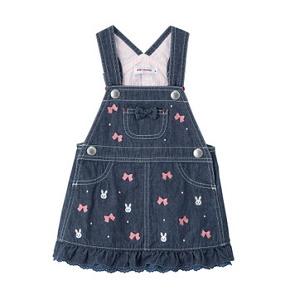 (送料無料)ミキハウス(おすすめ)mikihouseうさこ 薄手のデニムジャンパースカート日本製(M)